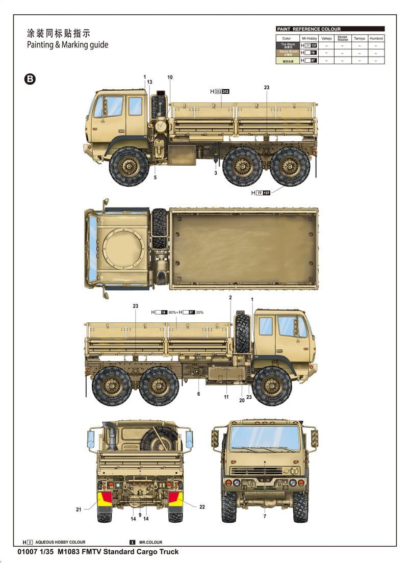 Trumpeter 01007 1 35 m1083 fmtv standard cargo truck for 1083 3