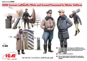 ICM 48086 - 1:48 WW II German Luftwaffe Pilots and Ground Personnel in Winter Uniform w/ accessories