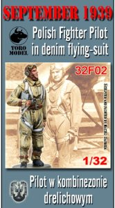 TORO MODEL 32F02 - 1:32 September 1939 Polish Fighter Pilot in denim flying-suit