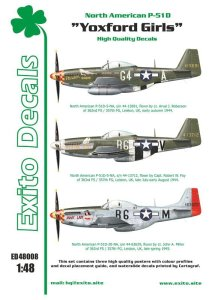 EXITO DECALS ED48008 - 1:48 Yoxford Girls - North American P-51D Mustang