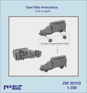 NIKO MODEL ZW3511G - 1:350 Opel Blitz Ambulance