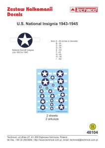 TECHMOD 48104 - 1:48 U.S. National Insignia 1943-1945