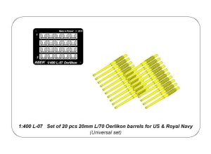 ABER 1:400L-07  - 1:400 Set of 20 pcs 20mm L/70 Oerlikon barrels for US & Royal Navy