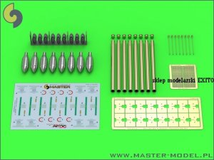 MASTER AM-24-011 - 1:24 British 3in Rocket RP-3 with 60LB SAP heads (8pcs) – for early Mk I rail – used on Typhoon, Mosquito, Beaufighter, Hurricane etc.