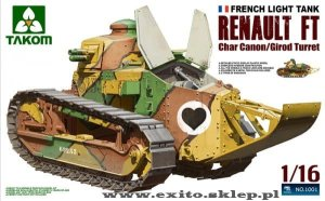 TAKOM 1001 - 1:16 Renault FT-17 Char Cannon / Girod Turret - French Light Tank