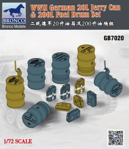 BRONCO GB 7020 - 1:72 WWII German 20L Jerry Can & 200L Fuel Drum Set