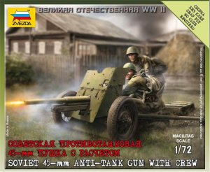 ZVEZDA 6112 - 1:72 Soviet 45-mm Anti-tank Gun with Crew