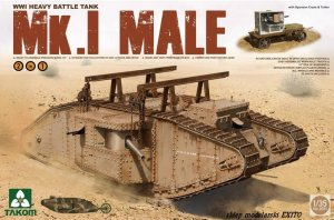 TAKOM 2031 - 1:35 Mk.I Male w/ Sponson Crane & Trailer - WWI Heavy Battle Tank
