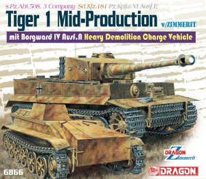 DRAGON 6866 - 1:35 Tiger I Mid-Production w/ Zimmerit mit Borgward IV Ausf.A Heavy Demolition Charge Vehicle