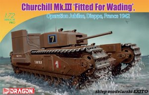 DRAGON 7520 - 1:72 Churchill Mk.III Fitted For Wading - Operation Jubilee Dieppe France 1942