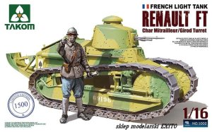 TAKOM 1002 - 1:16 Renault FT Char Mitrailleur / Girod Turret - French Light Tank with Figure (Limited Edition)