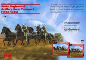 ICM 35481 - 1:35 Soviet Regimental Artillery Horse Transport WWII ( limber with 4 horses and 2 figures )