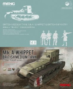 MENG MODEL TS021S - 1:35 Mk.A Whippet & British Infantry - British Medium Tank (Special Edition w/ Figures)