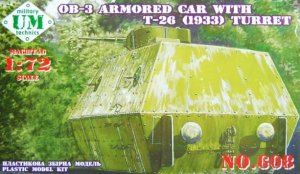 UNIMODELS 608 - 1:72 OB-3 armored railway carriage with T-26 turret