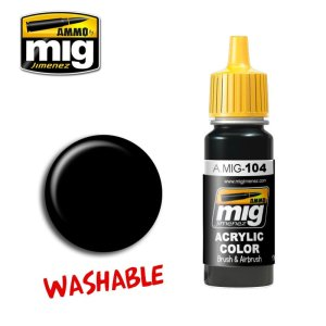 AMMO MIG 104 - Washable Black - farba akrylowa zmywalna 17ml