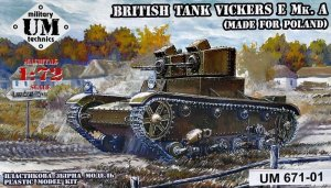 UNIMODELS UM-MT 671-01 - 1:72 British Tank Vickers E Mk. A ( Made for Poland )