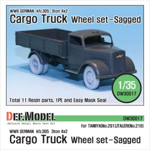 DEF MODEL DW30017 - 1:35 German Kfz.305 3t Cargo Truck ( Opel )Wheel set Sagged