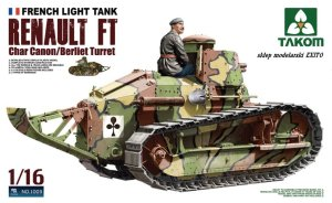 TAKOM 1003 - 1:16 Renault FT Char Canon / Berliet Turret - French Light Tank with Figure