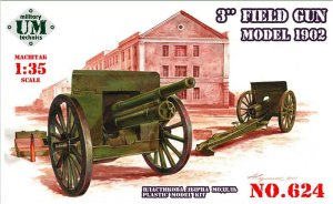 "UNIMODELS UM-MT 624 - 1:35 3"" Field Gun model 1902"
