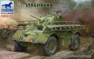 BRONCO CB 35115 - 1:35 T17E1 Staghound MK.I (Late Production) with 12 feet Assault Bridge