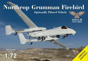 SOVA 72001 - 1:72 Northrop Grumman Firebird optionally piloted vehicle - with antennas and sensors