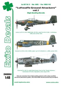 EXITO DECALS ED48004 - 1:48 Luftwaffe Ground Attackers vol.1 - Ju 87 D-3, Hs 129, Fw 190F-8