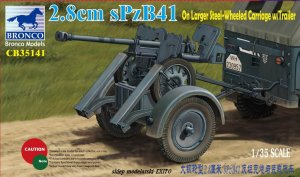BRONCO CB 35141 - 1:35 2.8cm sPzB41 on Larger Steel-Wheeled Cariage w/ Trailer