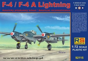RS MODELS 92115 - 1:72 F-4 /F-4A Lightning