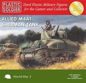 PLASTIC SOLDIER V20004 - 1:72 Allied M4A1Sherman 75mm Tanks (3 pcs)