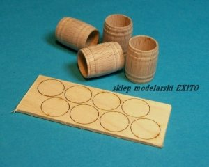 RB MODEL 0331216 - Wooden barrels (4 pcs) 16mm x 12,5mm