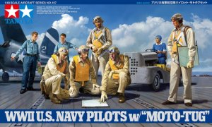 TAMIYA 61107 - 1:48 WWII US Navy Pilots with/ Moto Tug