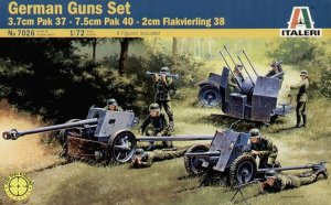 ITALERI 7026 - 1:72 German Guns Set : PaK 37 , 40 , 38