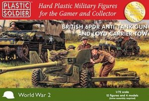 PLASTIC SOLDIER G20004 - 1:72 British 6 pdr anti tank gun and Loyd carrier tow